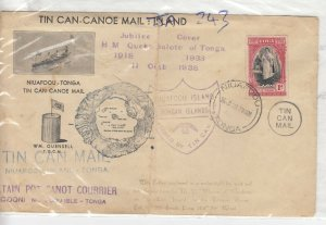 Tonga Toga 1938 Tin Can-Canoe Jubilee Cover Postal History J8927