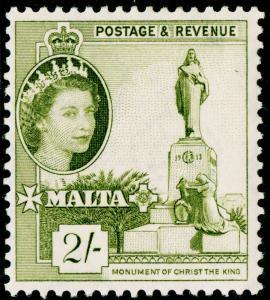 MALTA SG278, 2s olive green, LH MINT. Cat £12. WMK MULT SCRIPT CA.