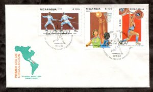d28 - NICARAGUA 1983 Pan American Games Cover. Fencing, Basketball. Sports