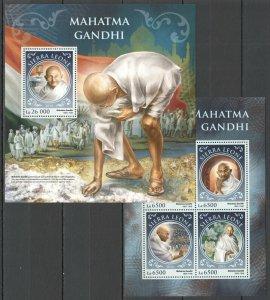 ST397 2016 SIERRA LEONE GREAT HUMANISTS MAHATMA GANDHI KB+BL MNH STAMPS
