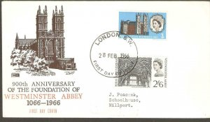 1966  WESTMINSTER ABBEY FIRST DAY COVER  WITH  LONDON CANCEL