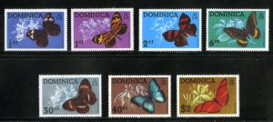 DOMINICA 427-33 MH SCV $6.75 BIN $3.00 BUTTERFLIES