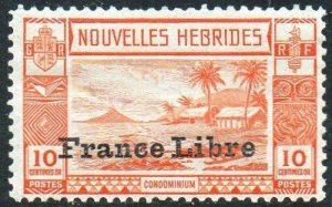 New Hebrides (French) 1941 10c orange with 'France Libre' ovpt MH