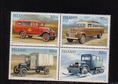 Iceland Sc 756-9 1992 Mail Trucks stamp set mint NH