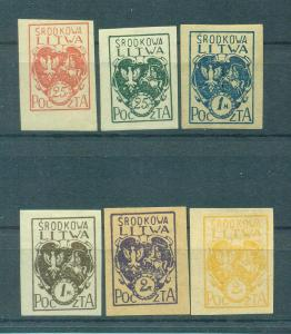 Central Lithuania sc# 1-6 imperf mh & mng cat value $2.40