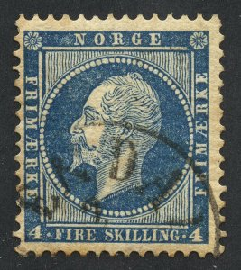 01901 Norway Scott #4 4-skilling blue, used, handstamp cancel