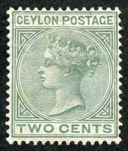 Ceylon SG147 2c Dull Green wmk Crown CA M/Mint