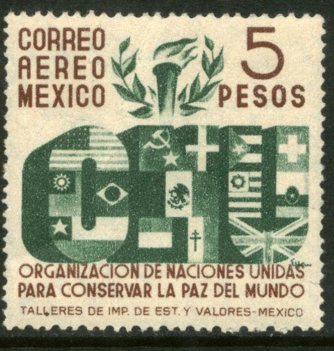 MEXICO C160, $5P Honoring the United Nations. MINT, NH. F-VF.