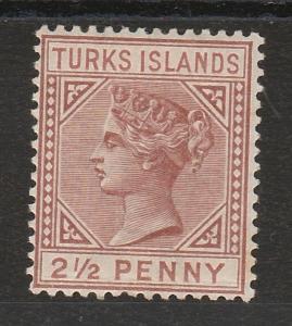 TURKS ISLANDS 1882 QV 21/2D WMK CROWN CA