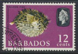 Barbados  SG 349 SC# 274a  Balloon Fish  Marine Life Used see scan