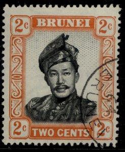 BRUNEI QEII SG101, 2c black & orange, FINE USED.