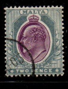 Malta Sc 33 1905 2d gray & red violet Edward VII stamp used