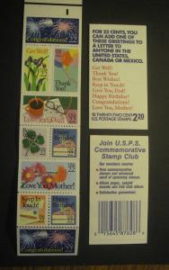 U.S. #BK 155 Booklet of Various Greetings, 1987. Exploded, MNH