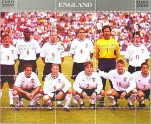 England Soccer Team -  Sheet of 9 Stamps - 20A-027