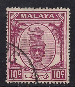 Perak Malaya 1950 - 56  10ct Purple Yussuf SG 136 used stamp ( H594 )
