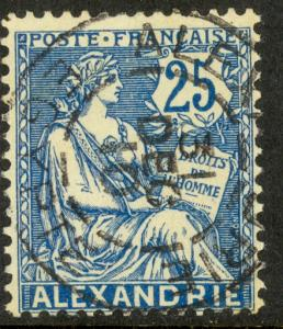 FRANCE OFFICES IN EGYPT ALEXANDRIA 1902-13 25c Blue Sc 24 VFU 1910 PMK