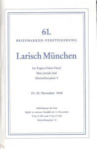 Larish: Sale # 61  -  61. Briefmarken-Versteigerung, A. L...