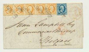 NETHERLANDS  1864, 15c STRIP OF 5+5c ON COVER, ROTTERDAM -BELFAST IRELAND-SCARCE