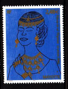 Mayotte MNH Scott #206 2.40Euro Woman wearing gold jewelry