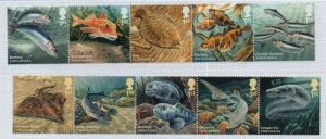 Great Britain Sc 3295-04 2014 Fish stamp set mint NH