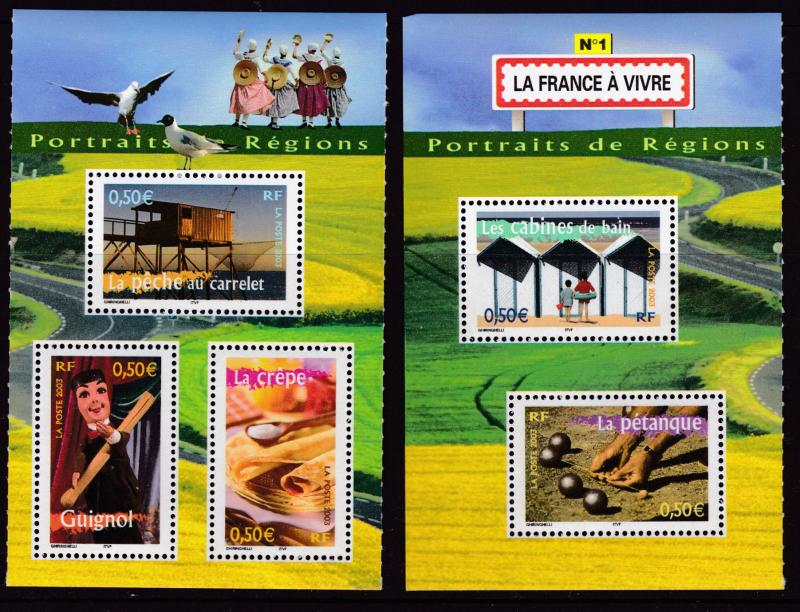 France 2005 Regions  4 Small Sheets with complete 10 Stamps. Post Office Fresh