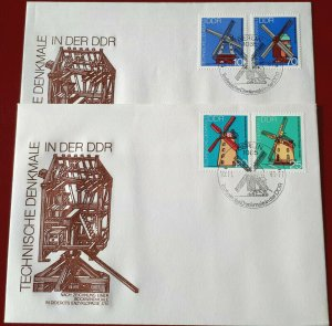 1981 Germany, GDR, DDR Windmills, Architecture, complete set on 2 FDC! LOOK!