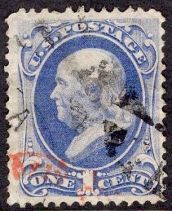 US Stamp #145 1c Ultramarine Franklin USED SCV $20