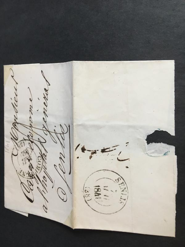 France 1841 Stampless Cover From COMPAGNE To Gen. Hospital SENLIS VF EST$15.