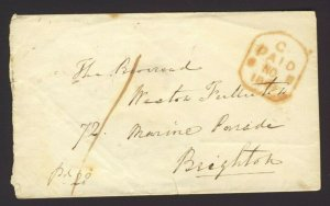 1841 Stamp-less folded cover only no letter Manuscript pd 28.Tombstone Pd + 2 BS