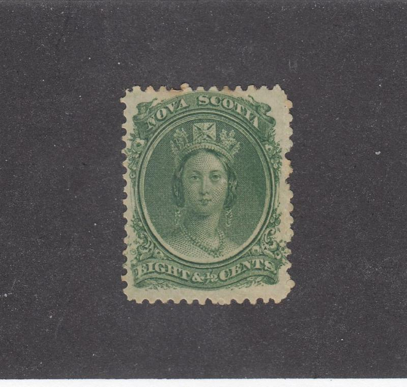NOVA SCOTIA # 13 FVF-MH  8 1/2cts QUEEN VICTORIA GREEN CAT VALUE $15