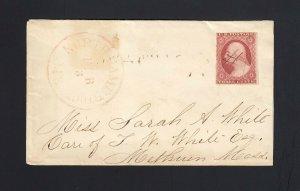 MASSACHUSETTS: North Cambridge 1850's #11 Plate CRACK Pos. 94L Plate 5L, RARE