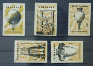 Match Box Labels ! industry science machines baloon physic prague GN24