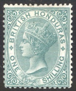 British Honduras 1877 1s Green WMK CC P14 SG 16 Scott 12 MM/MH Cat £325($400)