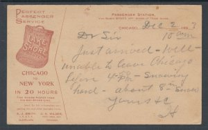 US Sc UX10 Illustrated Advertising Card, Lake Shore & Michigan Southern Railway