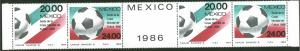 MEXICO 1372-1373,1373a Promotion Soccer World Cup strip MNH