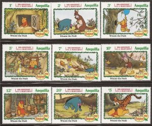 Anguilla - 1982 Disney Winnie the Pooh Christmas - 9 Stamp Set - Scott #511-9