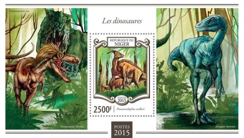 Withdrew 02/17/19-Niger - 2015 Dinosaurs - Stamp Souvenir Sheet - 14A-562