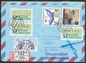 GERMANY 1989 Registered airmail cover to New Zealand - nice franking.......11236