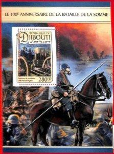 A1689 -DJIBOUTI, ERROR: MISSPERF, S/S - 2016 World War I, France Military, Horse