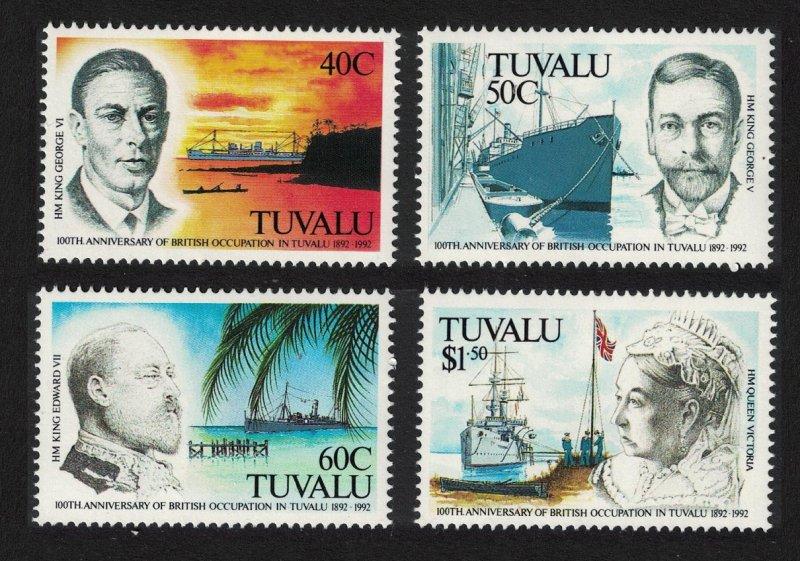 Tuvalu Cent of British Occupation of Tuvalu 4v 1992 MNH SG#625-628 CV£12.50