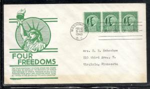 US #908 12 Four Freedoms Anderson cachet addressed fdc