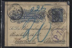URUGUAY (P0105B)  1908 PS LETTER CARD MONTEVIDEO TO GERMANY