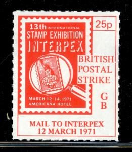 GREAT BRITAIN 1971 STRIKE POST LABELS 25p MAIL TO INTERPEX USA Issue MNH