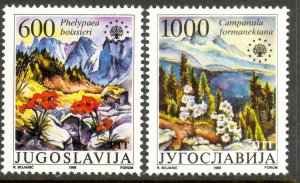 YUGOSLAVIA 1988 NATURE PROTECTION FLOWERS Set Sc 1900-1901 MNH