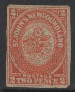 NEWFOUNDLAND SG10 1860 2d ORANGE-VERMILION UNUSED