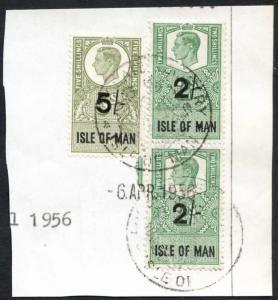 Isle of Man KGVI 2/- Pair + 5/- Key Plate Type Revenues CDS on Piece