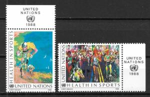 United Nations 526-27 Health in Sports set with MI tab MNH
