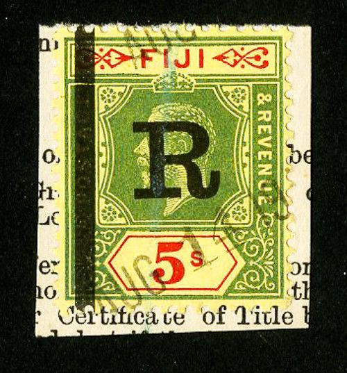 Fiji Stamps # 90 Rarity Bar 'R' on Piece