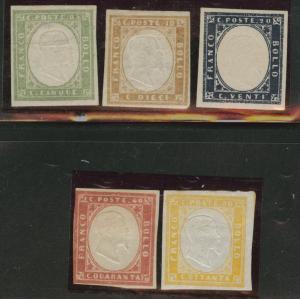 SARDINIA Scott 10-14 MH* 1855-63 embossed stamps CV$180