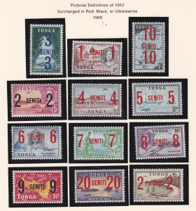 Tonga # 191-202, C37-39, CO15-18, Surcharges, LH, 1/3 Cat.